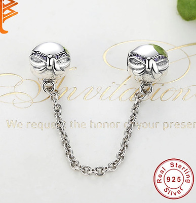 Solid 925 Silver Sterling Dainty Bow safety chain Fits European Charm bracelets