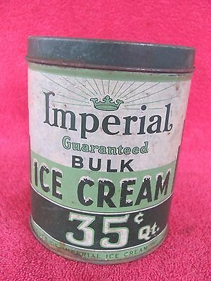 Old Vintage 1 Quart Imperial Ice Cream Tin Can Advertising Container Bucket Sign