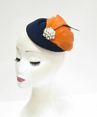 Navy Blue Coral Orange White Feather Pillbox Hat Fascinator Headpiece Races 2273