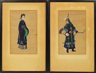 2 Antique Chinese China Qing Dynasty Watercolor 1850