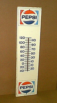 "Original Vintage PEPSI COLA Embossed Tin Metal Thermometer Sign - 28"" tall"