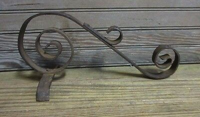 Vintage Hand Wrought Iron  S Curve Part Bracket Hanger Sign Light Lamp Decor