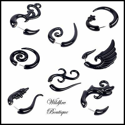 Black Acrylic Fake Cheater Ear Taper Stretcher Spiral Expander Ear Studs Pair