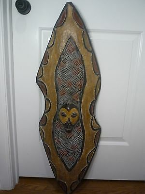 CONGO Large Solid Carved Wood African Decorative Shield Africa Tribal - 3+ Feet