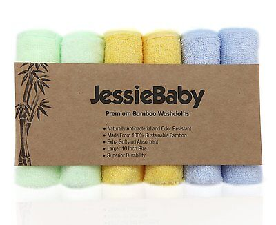 Jessiebaby Extra Soft Baby Bath Washcloths,100% Natural Bamboo Towels,6 Pack