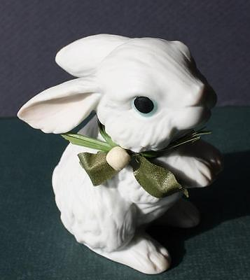 Easter Bunny Rabbit Ceramic-Porcelain Figurine with Green Bow-Blue Eyes-CUTIE