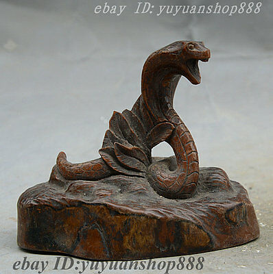 "4"" Collect Rare China Folk Boxwood Pure Hand Carved FengShui Zodiac Snake Statue"