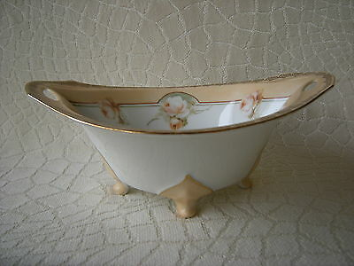 Antique RS Tillowitz Silesia Footed Bowl w Peach Roses & Trim Gorgeous & Perfect