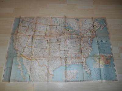 "Old Vtg 1940 UNITED STATES CANADA MEXICO WALL MAP North America 40""x 27"""