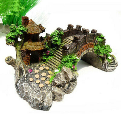 Retro Aquarium Resin Bridge Landscape Fish Tank Ornament Pavilion Tree Decor FR