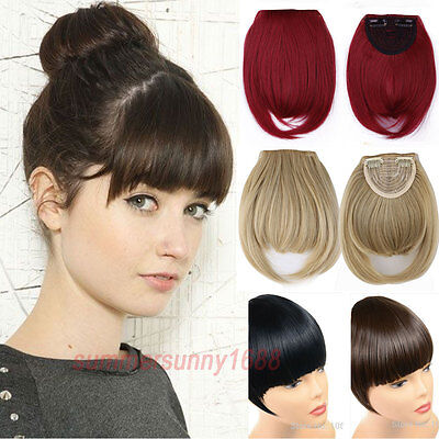 Clip In on Bangs Fringe Fake Hair Extensions Straight Front Neat Hair Bang hg71