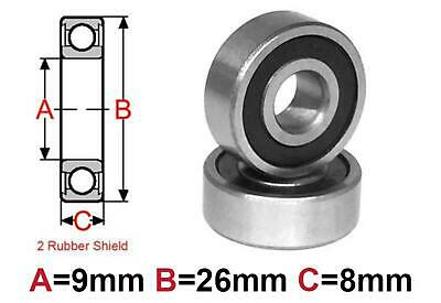 AT Bearing 9x26x8mm RS chrome steel rubber shielded (629-2rs)