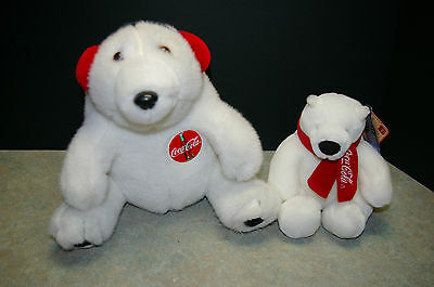 Lot Of 2 1996 'coca Cola' And 'boyds' Plush Polar Bears Beanie Bears