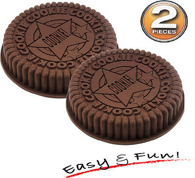 "2 pcs 8"" Large Size Oreo Cookie Silicone Cake Mold Pan Tray Round Mould Bakeware"