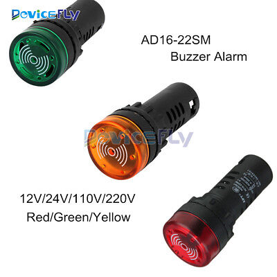 New 12/24/110/220V AD16-22SM LED Flash Alarm Indicator Signal Lamp with Buzzer