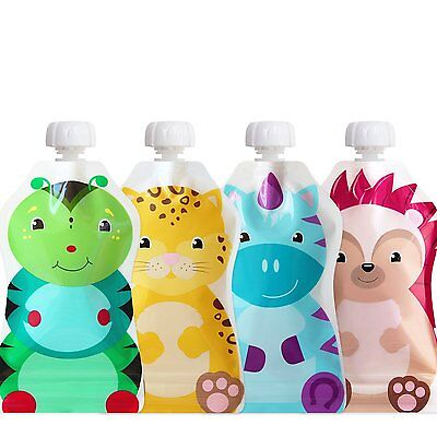 ChooMee Snackn - Reusable Food and Drink Pouch Set   Soft Feel + Double Lock   4