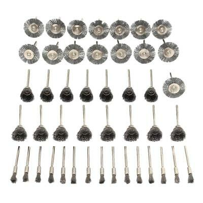 45Pcs 3mm Shank Rotary Steel Wire Wheel Brush Cup Tool for Drill Rust Weld
