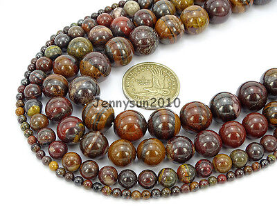 Natural Red Tiger Iron Gemstone Round Spacer Beads 15.5'' 4mm 6mm 8mm 10mm 12mm