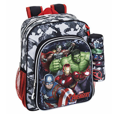 Marvel Avengers Assemble Backpack Rucksack + Pencil Case Travel School Hulk Bag