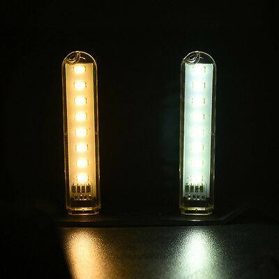 1Pcs Portable USB Mobile Power 8 LED Night Light Camping Lamp Torch Warm White
