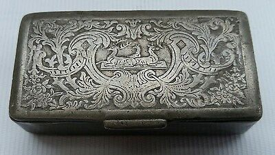 Vtg Victorian Antique Pewter Metal Snuff Box Embossed with Stags Deers Trinket