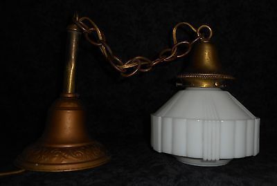 REWIRED Shabby Chic Art Deco Ceiling Fixture w/Unusual Detailed Milk Glass Shade