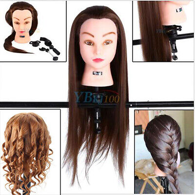 "26"" 30% Real Hair Training Practice Head Hairdressing Mannequin Doll & Clamp -UK"