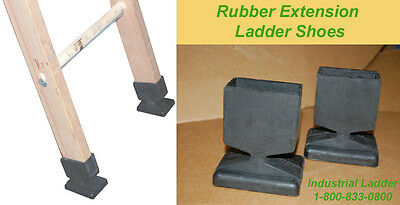 Ladder Rubber Shoe RUB-01 Pair Fits Wood Extention Ladders