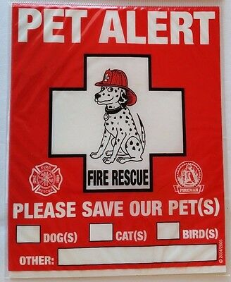 6 PET ALERT Fire Rescue Static Cling Window Decals for Pet Safety Decal 6-Count