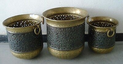 Lot of 3 pcs Antique Decorative Brass Planter Plant POT with Handles - LARGE