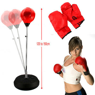 Punch Ball Adult 's Training Sport Adjustable Height Bag Mitts Gloves Boxing Kit