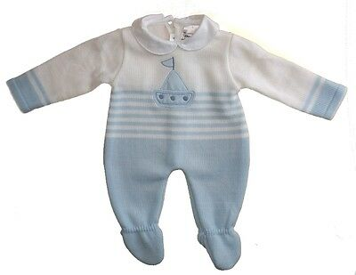 Baby Boys Romany Spanish Boat Knitted Overall With Collar
