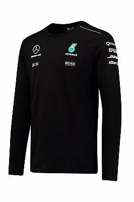 Mercedes AMG Petronas F1 Men's Team Long Sleeve Driver T-Shirt - 2017 - Black