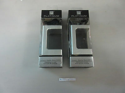 Lot of 2 Platinum Charging Stands for Apple Watch PT-AWCSS