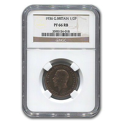 1936 Great Britain 1/2 Penny George V PF-66 NGC (Red/Brown) - SKU #132260