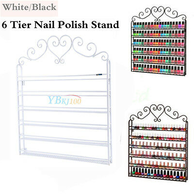 6 Tier Wrought Nail Polish Rack Wall Mount Display Organizer Comestic Shelving