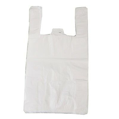 "100 x WHITE PLASTIC VEST CARRIER BAGS 10x15x18"" *SPECIAL OFFER* 10mu"