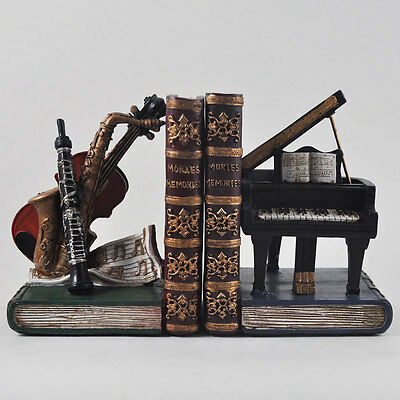 Pair of Violin / Piano / Musical Instruments Bookends.Sculpture / Figurine.New