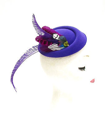 Purple Pink White Feather Pillbox Hat Hair Fascinator Races Ascot Headpiece 2291