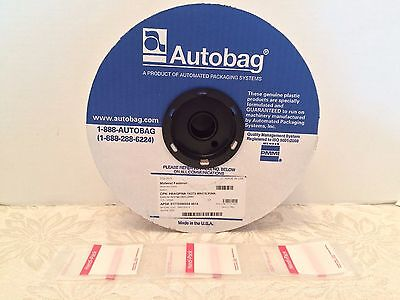 "Autobag Roll of 3250 Auto bags Poly Bags Clear/Pink ""2.5x4"" Plastic New USA Made"