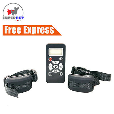Anti Bark Rechargeable Stop Barking Dog Remote & Auto Training Collar - 2x Dogs