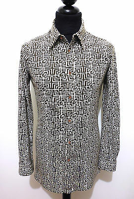 JEAN ANTOINE PARIS VINTAGE '70 Camicia Uomo Optical Man Shirt Sz.S - 46
