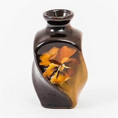 """Vintage Pottery J. B. Owens UTOPIAN Two Tone Brown & Olive Vase #110 Pansy 4"""" T"""