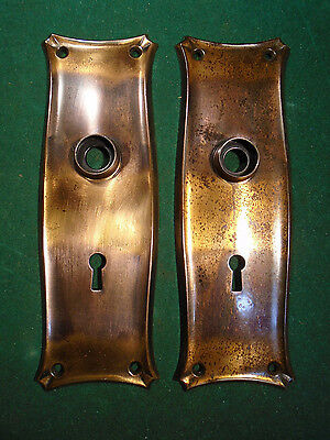"ONE PAIR VINTAGE JAPANNED BACKPLATES 7 3/4"" x 2 1/2""  -VERY CLEAN (7904)"