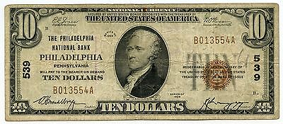 1929 $10 National Currency Note - 539 Philadelphia National Bank - AK14