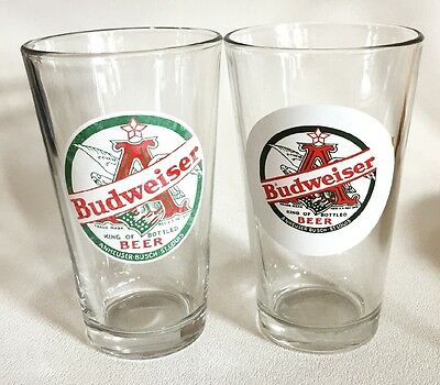 Pair Budweiser Retro Label Pint Beer Glasses Advertising Promotional Souvenir