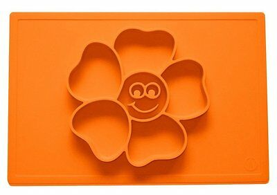 One-Piece Silicone Happy Flower Placemat Bowls Plate and Tray for Baby and Kids