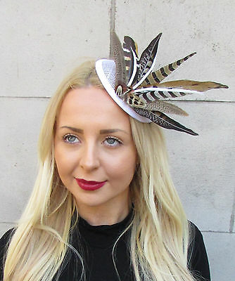 White Brown Pheasant Statement Feather Fascinator Pillbox Races Hat Ascot 2297