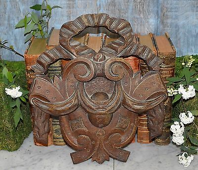 Antique French Carved Wood Pediment Ribbon Bow Crest Medallion