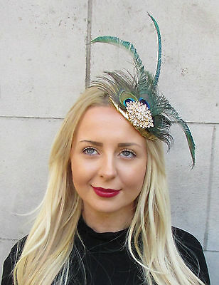 Gold Green Peacock Statement Feather Fascinator Pillbox Races Hat Ascot Vtg 2299